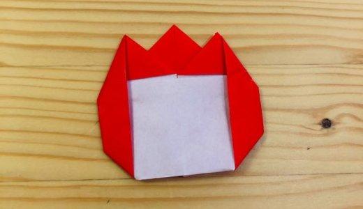 """簡単折り紙『チューリップの名札』の折り方 How to fold origami """"Tulips"""""""